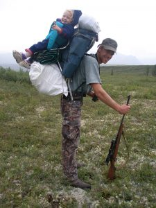 Man and baby hiking